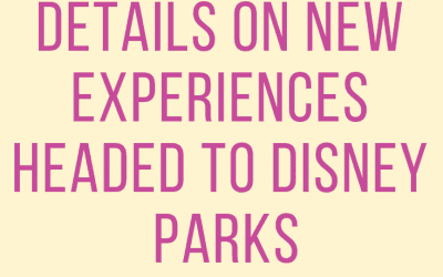 Details on New Experiences headed to Disney Parks